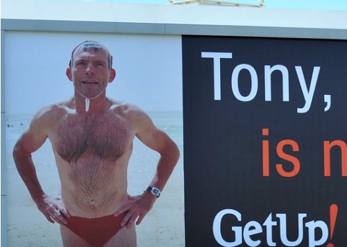 Tony Abbott on GetUp Billboard