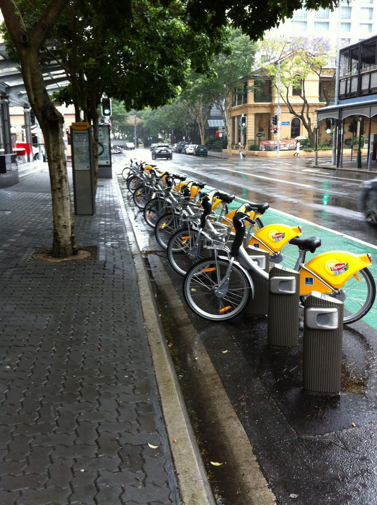 City Cycle bicycles wait for the rain to stop.