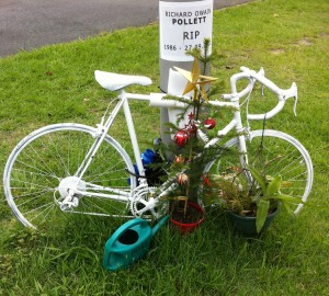 Road side shrine to Richard Pollett, promising violinist who died in a bicycle accident on Brisbane's Moggill Road.